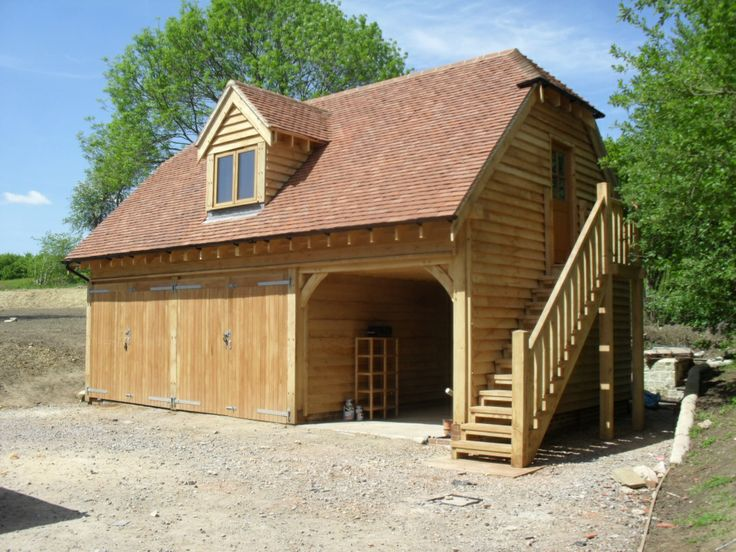 Oak Garage with room above and oak staircase