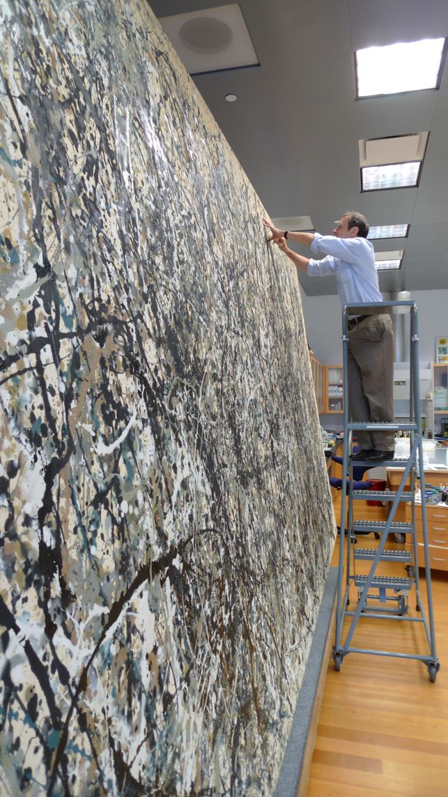 Conservation treatment of Jackson Pollock's One: Number 31, 1950 at MoMA