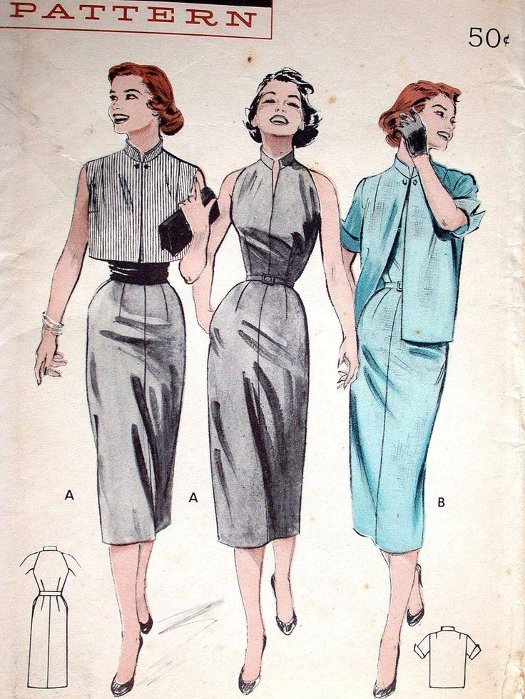 """Cartamodelli abito modello No 6895 UNCUT Vintage anni ' 50 formato 16 busto 34"""" maniche abito Slim Fitting mandarino collare lato cerniera giacca Bolero di CaliforniaSunset su Etsy https://www.etsy.com/it/listing/119112427/cartamodelli-abito-modello-no-6895-uncut"""