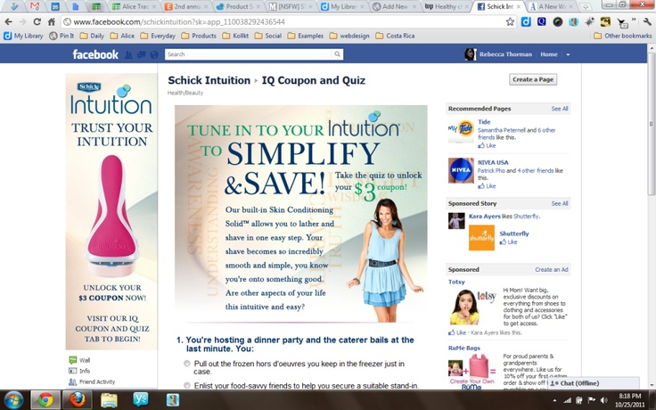 """Energizer Personal Care brand Schick Intuition just launched a new, interactive coupon-oriented Facebook application (www.facebook.com/schickintuition) asking customers to tune into their intution while they tune into some of the top social media influencers: Melanie Notkin, Founder of The Savvy Auntie, Kimberley Clayton-Blaine, Executive Producer of TheGoToMom.TV and MommyToMommyTv.com and Audrey McClelland, Founder of MomGenerations.com.    """"Schick Intuition is excited to escort consumers…"""