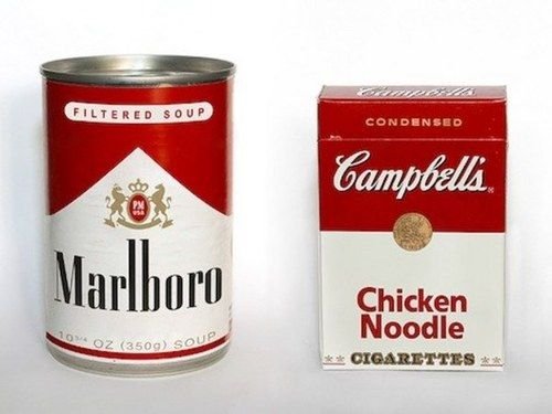 no copyright infringement intended #designCampbell, Marlboro, Brand Identity, Packaging, Chicken Noodles Soup, Funny, Graphics Design, Typography Art, Andy Warhol