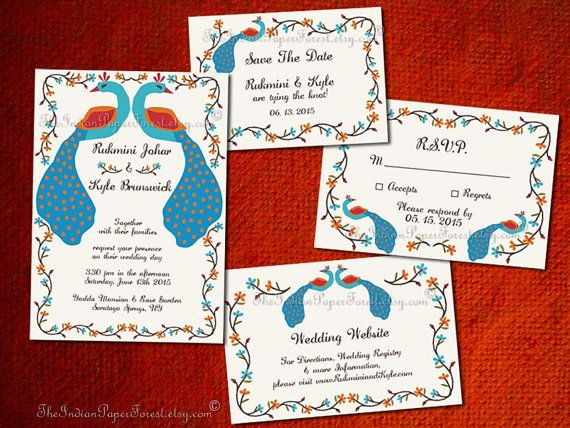 RUSTIC PEACOCK Indian Wedding Invitation Set Design Pdf / Print Asian Invite Card Boho Save The Date Hindu Muslim Sikh Gujarati Marathi Jain