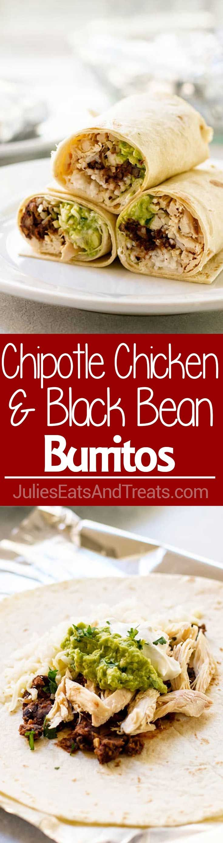Chipotle Chicken and Black Bean Burritos ~ These Chipotle Chicken and Black Bean Burritos Great for Busy Nights When You Need an Easy Dinner Recipe! Stuffed with Rice, Chicken, Black Beans, Avocado, Sour Cream and Cheese! via @julieseats
