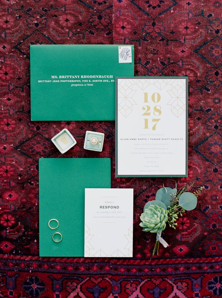 wedding invitations east london south africa%0A wedding invitation suite from Austin  TX wedding at One Eleven East venue