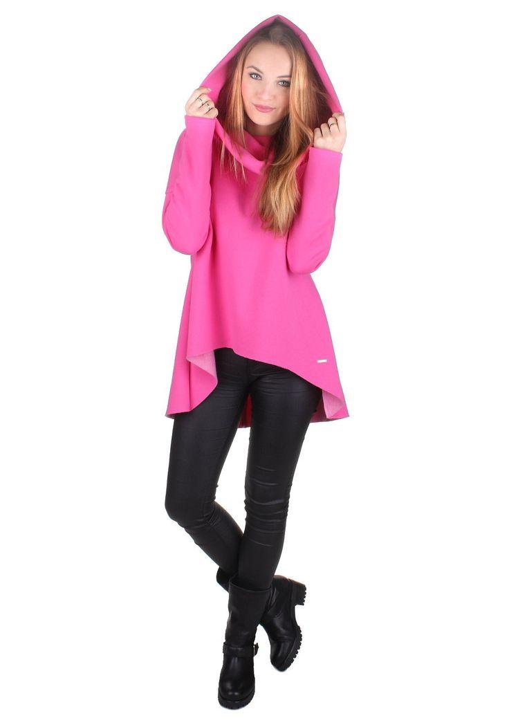Bluza 2027-20   Odzież Damska \ Bluza Asymetryczna z głębokim kapturem, różowa