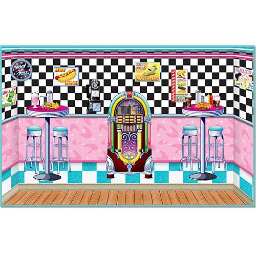 Our Soda Shop Scene Setters will take you back to the days of malts and sock hops with the bright colors and jukebox, checkered wall and more.