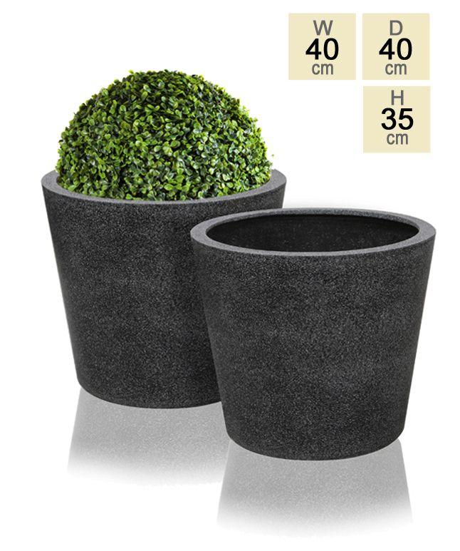 Black Poly-Terrazzo Round Planter - Set of 2 - H35cm x D40cm £59.99