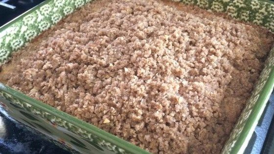 Just in time for Sunday morning! A simple coffee cake is whipped together by first making a crumb mixture, and then stirring in milk and egg. It gets covered with a streusel topping and baked.