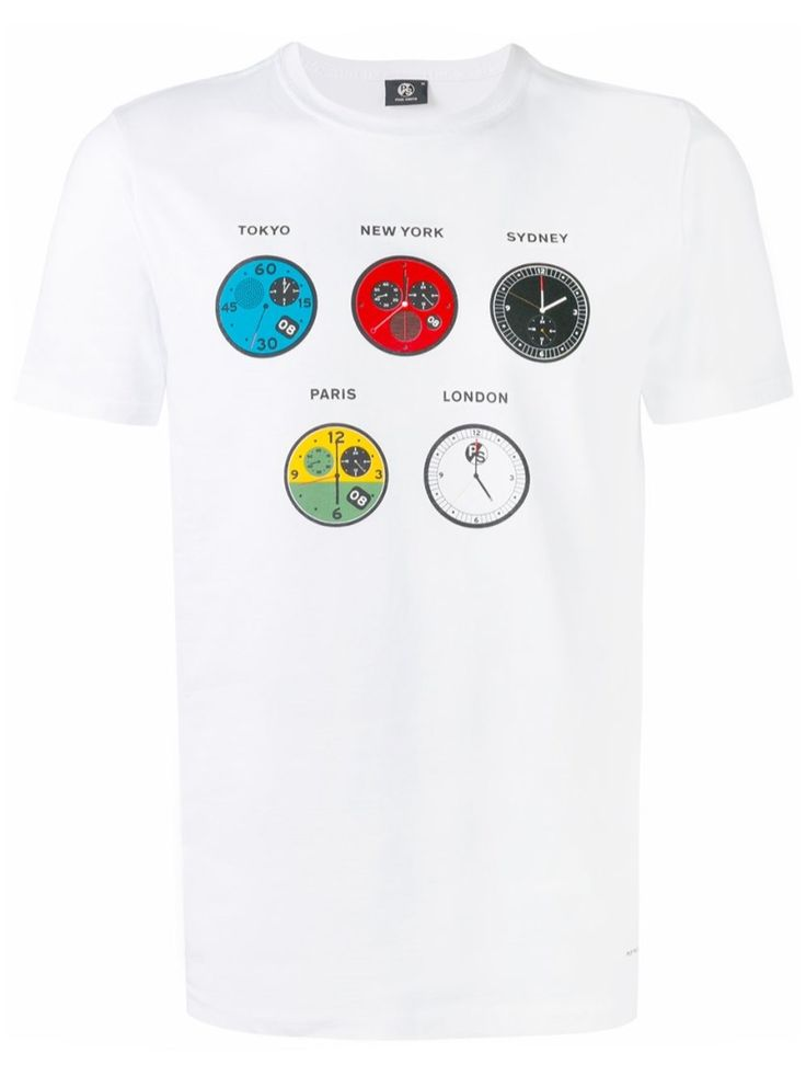 PS BY PAUL SMITH 'Watches' White Cotton T-Shirt. #psbypaulsmith #cloth #t-shirt