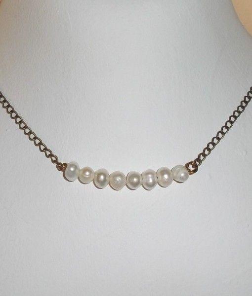 μαργαριταρια μπρουτζινη αλυσιδα - pearl brass chain