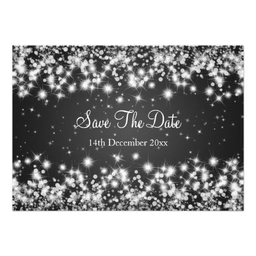 Wedding Save The Date Winter Sparkle Black Announcements