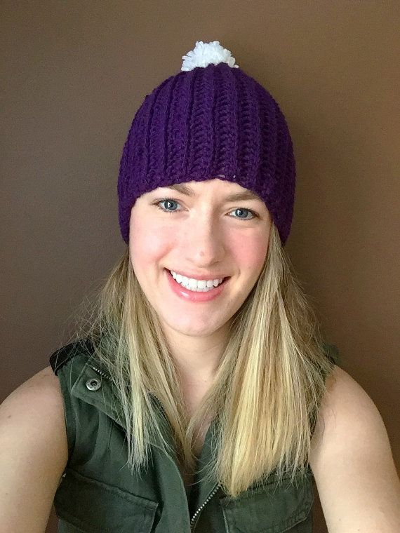 This super fun purple beanie is sure to brighten up your day!!  The pattern for this hat can be found at Lion Brand Yarn.  Made with acrylic yarn