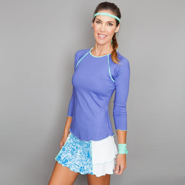 Long-sleeve Top by Denise Cronwall, Denise Cronwall Activewear Riviera Collection, #activewear, #tennis, #fitness, #workout, #apparel, #style, #fashion, #unique, #boutique, #training, #pants, #bra, #top, #designer, #skirt, #athleisure