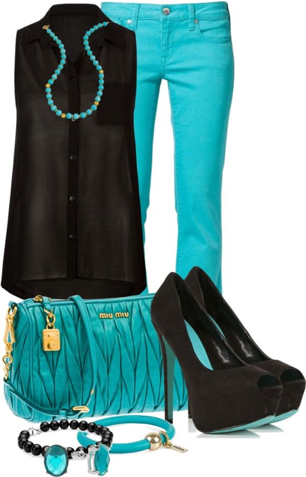"""Turquoise & Blue"" by elenh2005 ❤ liked on Polyvore"