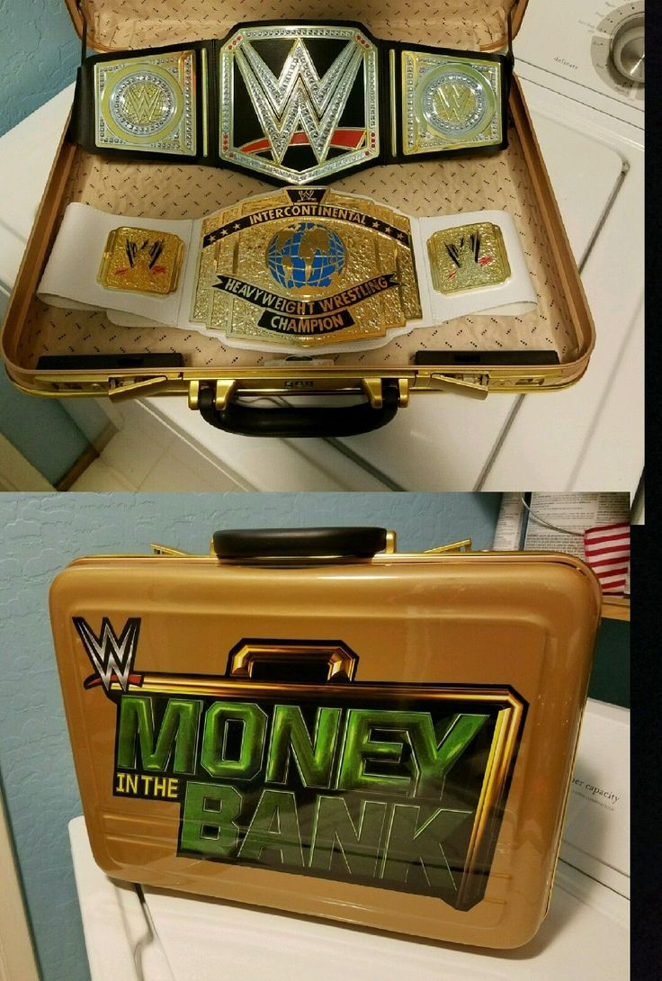 WWE Money In The Bank Briefcase plus Heavyweight and Intercontinental Belts - be...