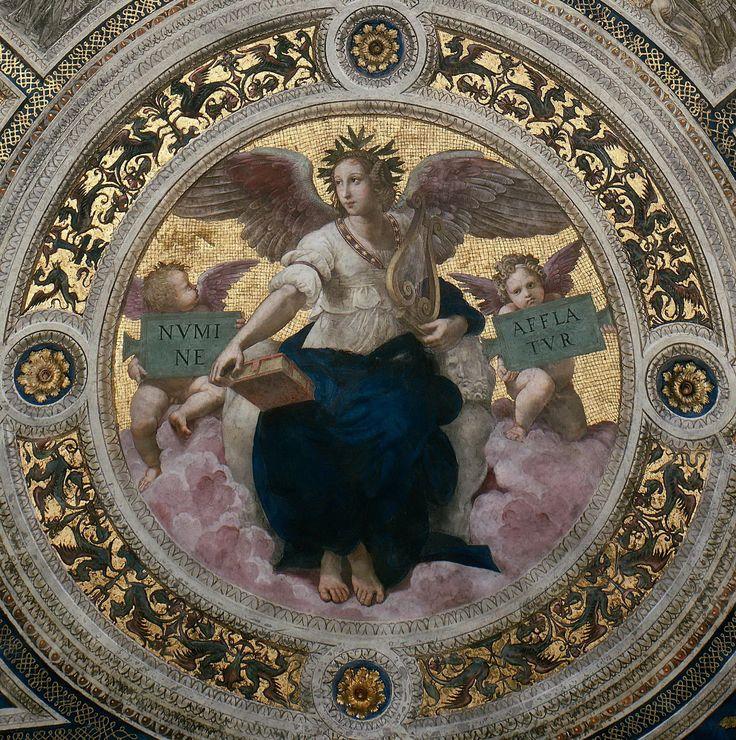 Рафаэль Санти: Станца делла Сеньятура: Роспись потолка (деталь) - Поэзия1511