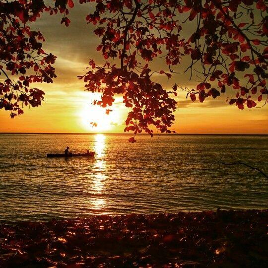 Sunset at Pasir Putih beach, Siwalenta.