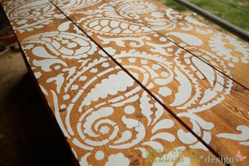DIY Stencil : How to Stencil a Table Top with Cutting Edge Stencils