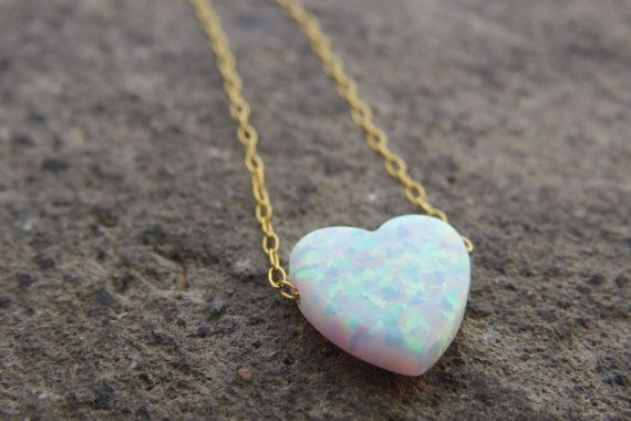Heart necklace Gold opal necklace Heart jewelry by RomisJewelry 27.00