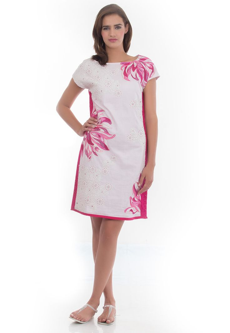Cotton Shift Dress -> - Cambric Cotton - Cotton Lining - Boat Neck Extended Sleeve Shift - Patch Work and Thread Emboidery - Lace detailing - Dry Clean  Order Now : http://www.rinkusobti.com/clothing/cotton-shift-dress