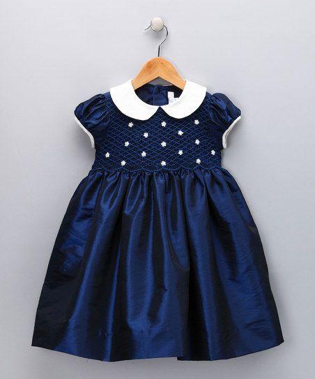 Navy & Ivory Daisy Smocked Dress - Infant, Toddler & Girls