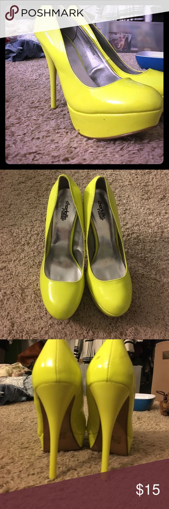 Yellow High heels Bright yellow high heels. God bless your soul if you are good at walking in heels. I'm selling these because I look like a just birthed baby calf when I try walking in heels soooo... Charlotte Russe Shoes Heels