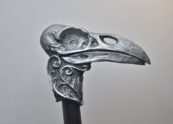 Raven Skull Cane by Dellamorteco on Etsy