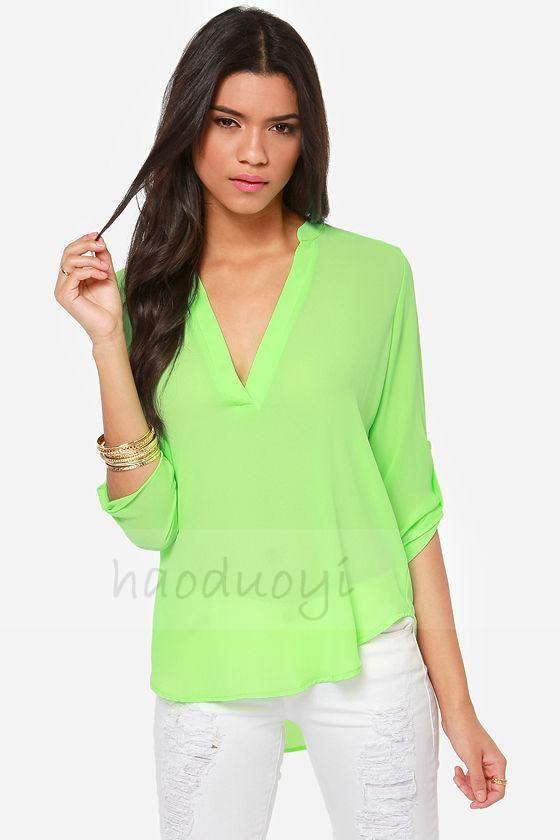 aecf12dce Limón verde v cuello de la gasa larga camisa para mujer 2015 nueva ...