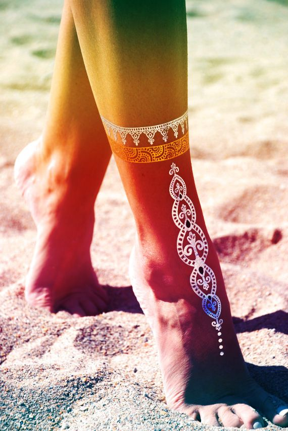 foot gold metallic tattoo flash tattoo