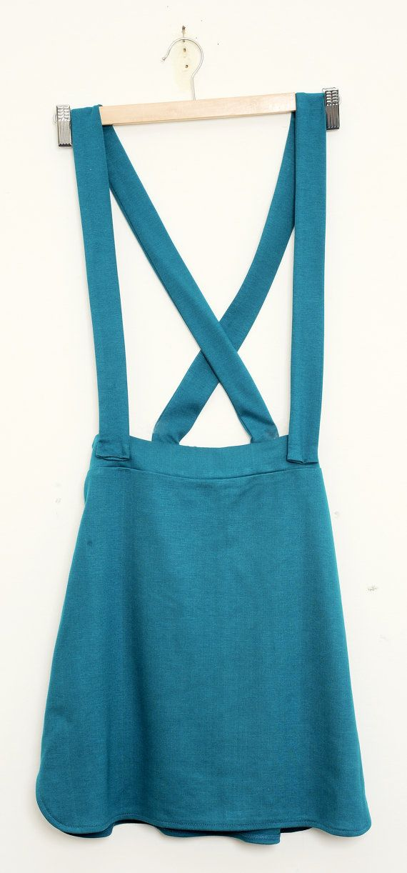 Teal Pinafore Dungaree Skirt removable braces Tell by GiraeRigira