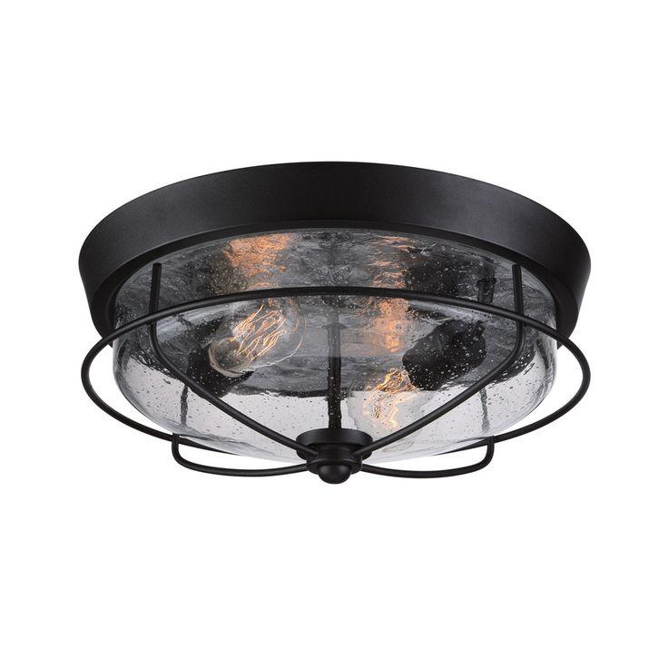 Portfolio Valdara 14.75-in W Matte Black Outdoor Flush-Mount Light