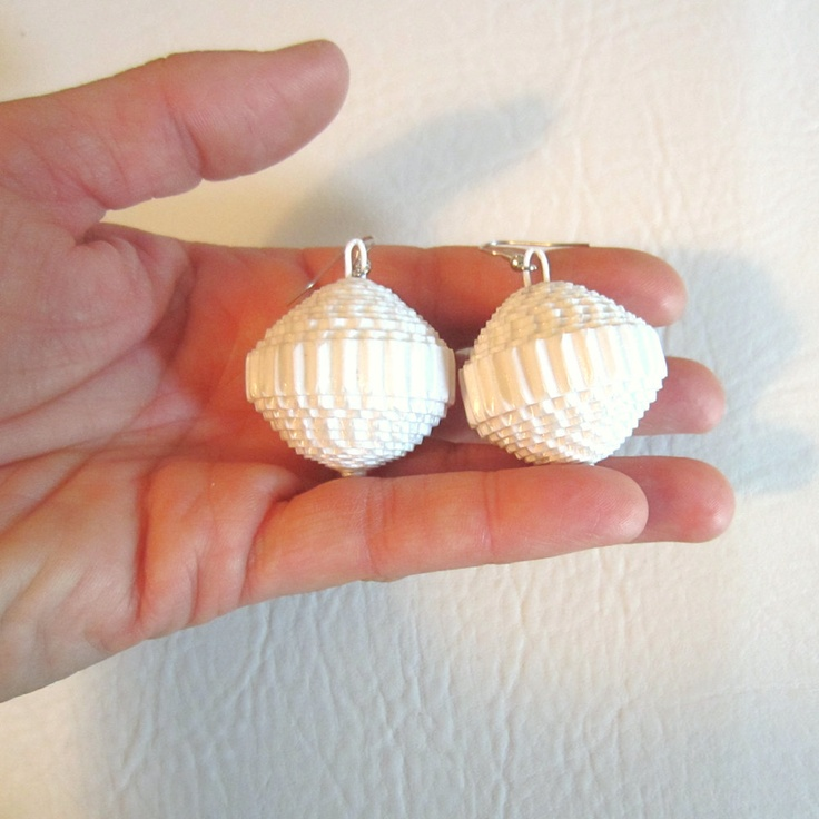 "White: Paper Statement Earrings. 14€, via Etsy. ""paperStatement"""