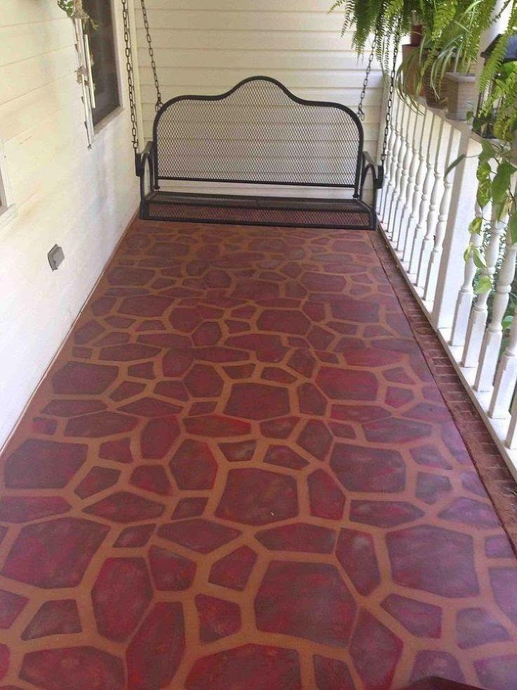 DIY Painted Concrete Porch