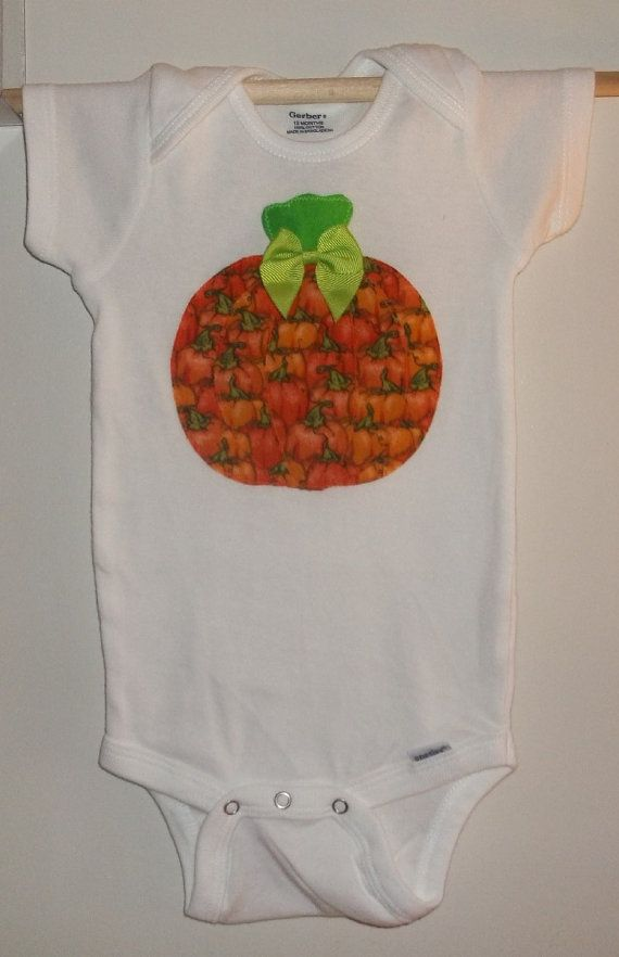 Pumpkin Applique Onesie Bodysuit Size 12 by wreathsNmorebyTerry, $8.00