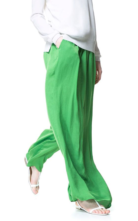 Zara Flowing Sarong Trousers in Green (green / grass) | Lyst