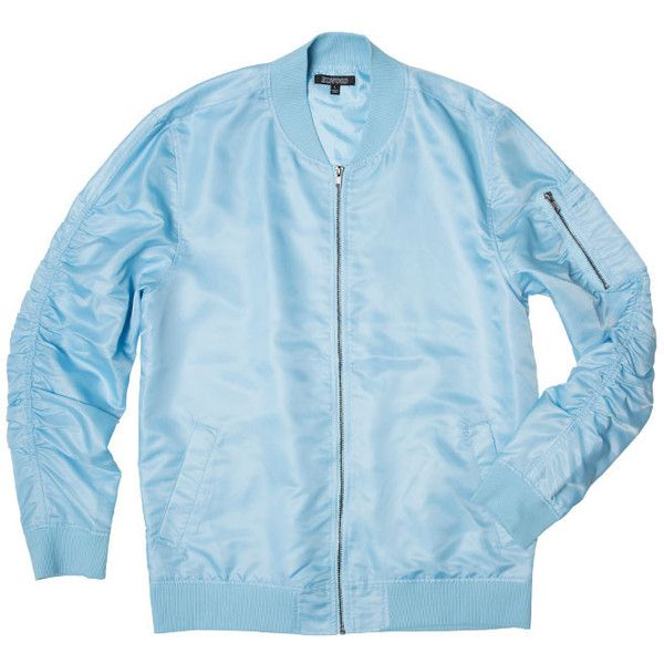 Sky Blue Nylon Bomber Jacket ($48) ❤ liked on Polyvore featuring outerwear, jackets, flight jacket, nylon bomber jacket, blue jackets, nylon flight jacket and nylon jacket