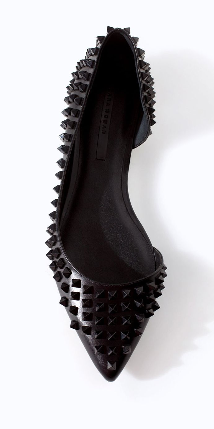 Zara black studded ballet flats we need (for $60!)