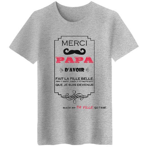 Bonne f te des papas version fille pens es humour et d rision bref le bien tre - T shirt personnalise photo et texte ...