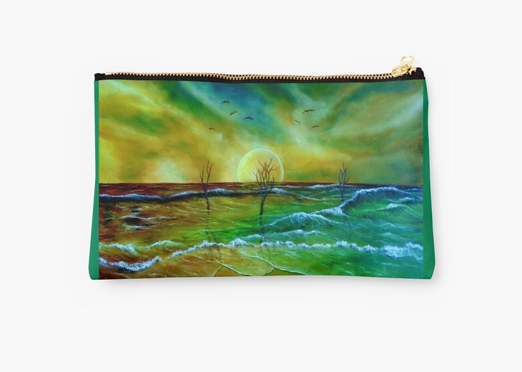 Studio Pouch,  coastal,sea,waves,beach,sky,nature,green,blue,colorful,impressive,fantasy,cool,beautiful,unique,trendy,artistic,unusual,accessories,for sale,design,items,products,presents,gifts,ideas,carry all pouch,redbubble