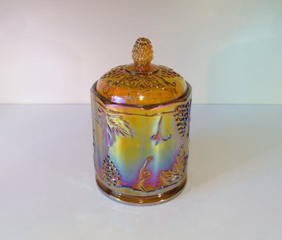 Carnival Glass Biscuit Jar Canister in Amber by RetroEnvy21