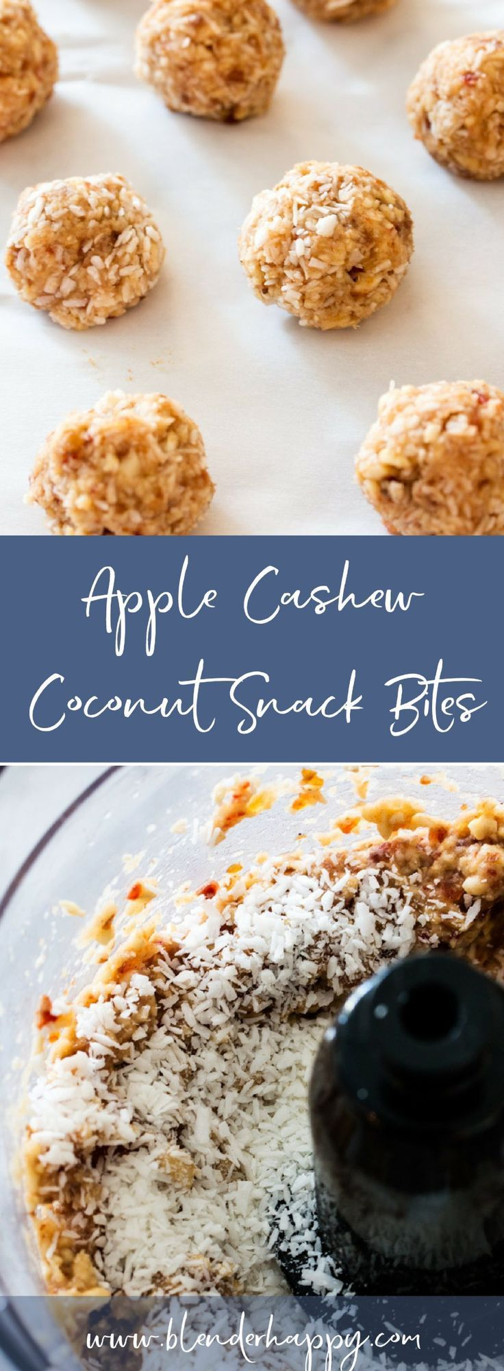 These little yet oh-so flavorful snack bites get their boost from unsweetened apple sauce, medjool dates, cashews and coconut.  Super easy to make and even easier to enjoy. Gluten Free, Dairy Free, Whole30 and Paleo Friendly. via /blenderhappy/