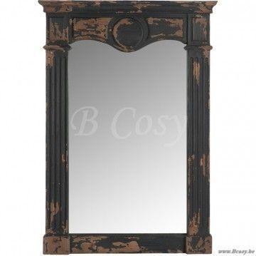 J-Line Antieke spiegel met zuilen deco antiek zwart hout 90