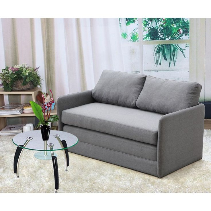US Pride Furniture Kathy Reversible 5.1 inches Foam Fabric Loveseat and Sofa Bed (Grey Reversible Fabric Loveseat & Sofa Bed)