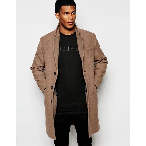 ASOS Wool Overcoat in Light Tan (245 BRL) ❤ liked on Polyvore featuring men's fashion, men's clothing, men's outerwear, men's coats, grey, mens tan wool coat, mens wool outerwear, mens grey coat, mens wool coat and asos mens coats