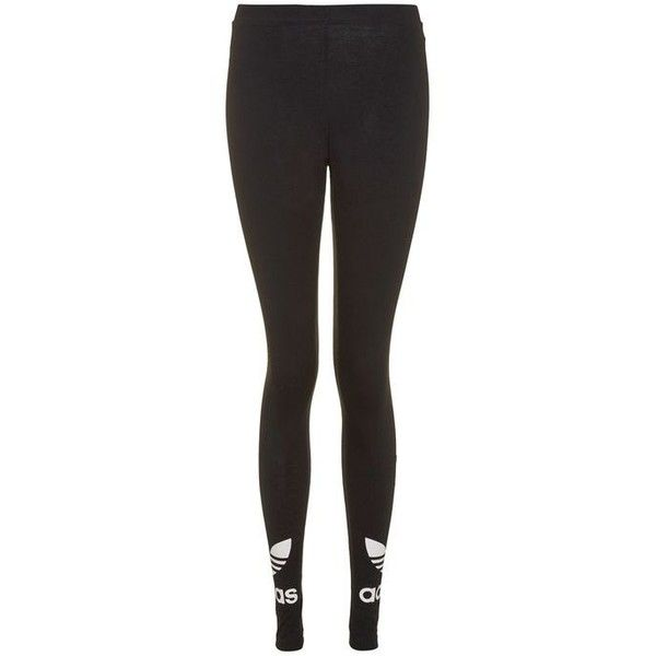 Trefoil Leggings by Adidas Originals ($28) ❤ liked on Polyvore featuring pants, leggings, topshop pants, cotton trousers, adidas trefoil leggings, ankle length leggings and topshop leggings