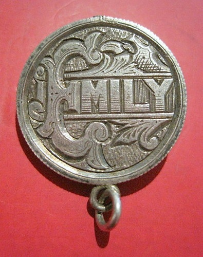 Emily Named Antique Sterling Silver Love Token Pendant Fob | eBay