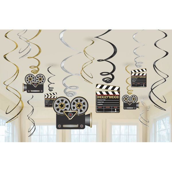 Direct From Above! Direct your party from the top with these swirly hanging decorations with movie cameras and clapboards that can hang around anywhere. Pack contains 6 18 inch decorations.