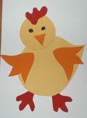 Collage d'un poussin - Bricolage de Pâques - Tête à modeler