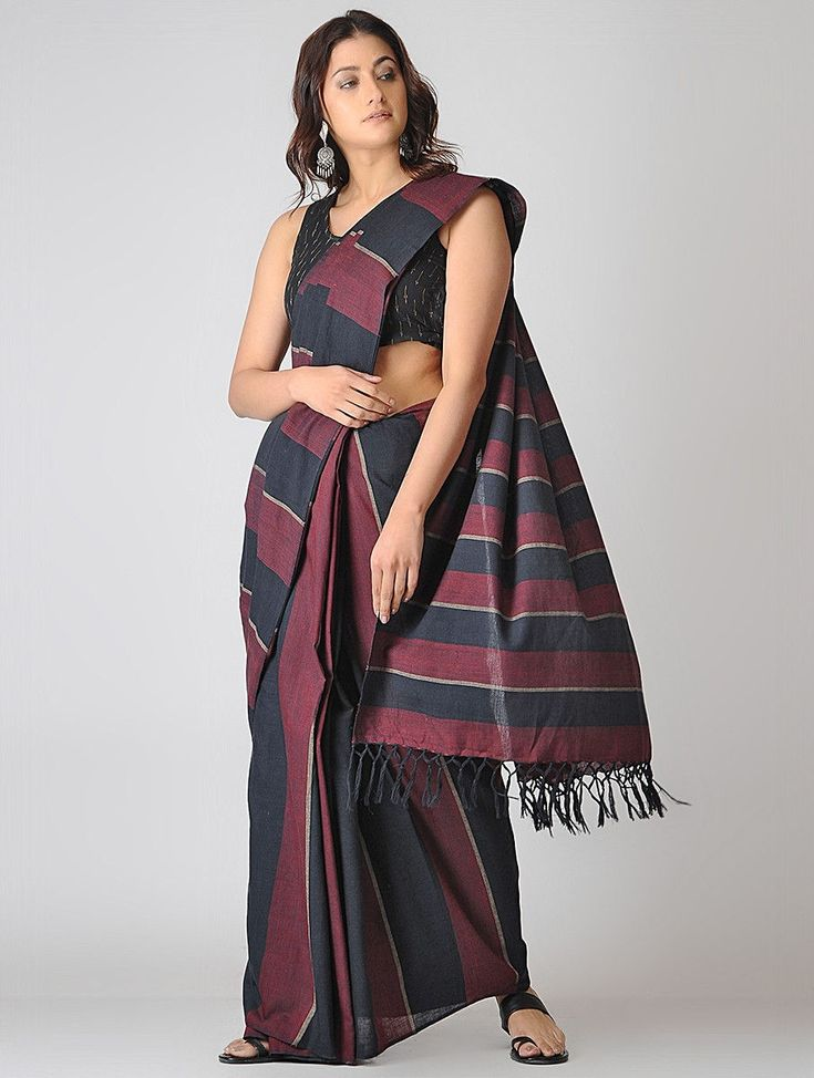 Buy Maroon Black Grey Striped Cotton Saree Sarees Woven Loom Stories Handwoven checkered and dupattas Online at Jaypore.com