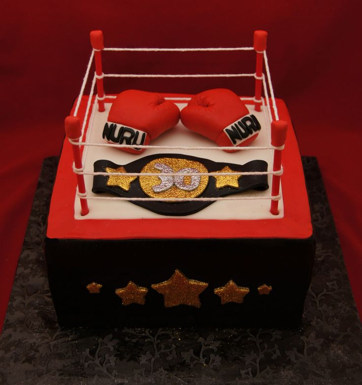 Boxing ring and boxing glove cake